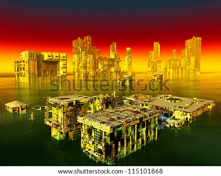 City after the war is over - stock photo