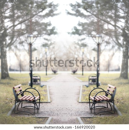 city �¢??�¢??alley autumn bench loneliness - stock photo