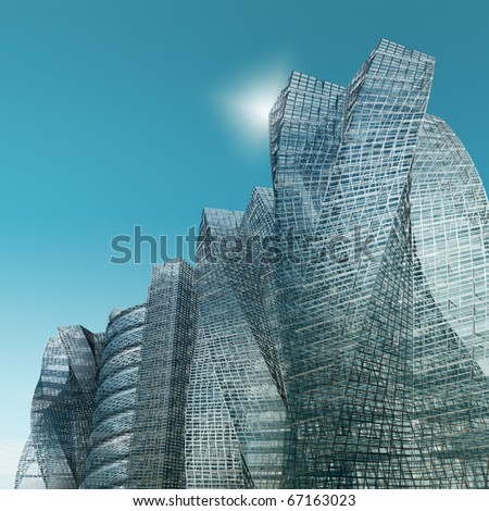 City and clear sky. No copyrights - my concept project, not real building