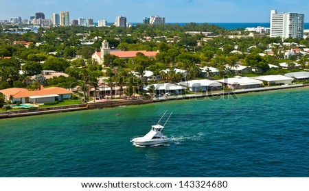 City and coastline of the city of Fort Lauderdale, Florida - stock photo