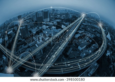 city and communication concept - stock photo