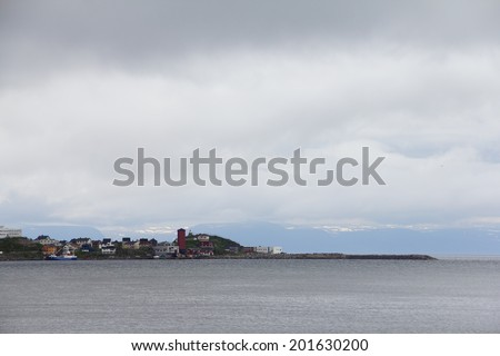 City and harbor, Honningsvag, Nordkapp municipality, Norway - stock photo