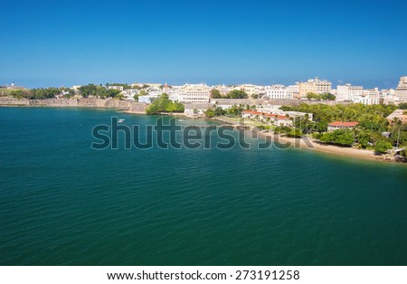 City and harbor of San Juan, Puerto Rico - stock photo