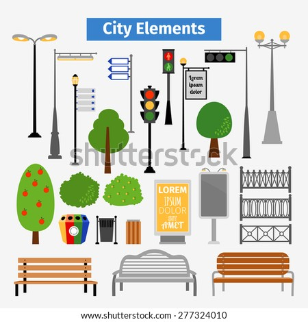 City and outdoor elements. Lamppost and container, bush and signboards - stock photo