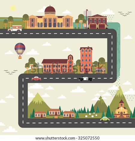 City and suburb long street poster with town council edifice and hospital building flat abstract  illustration - stock photo