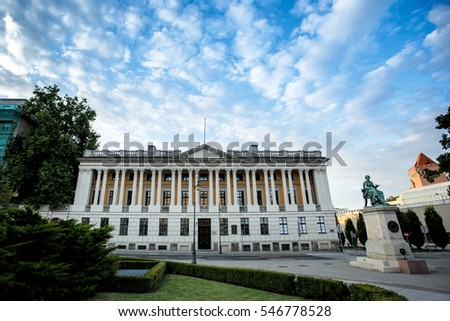 City architecture. Famous Raczynski Library (Biblioteka Raczynskich). Beautiful evening blue sky with clouds. Greater Poland province (Wielkopolska). Poznan, Poland.