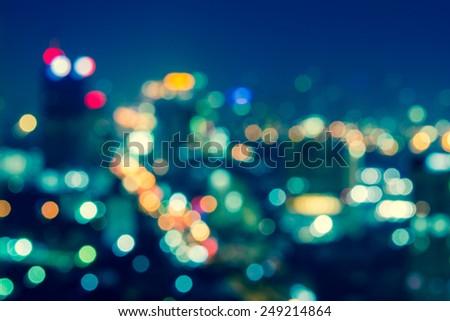 City at night - blur photo, light Bokeh background - stock photo