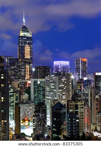 city at night, Hong Kong