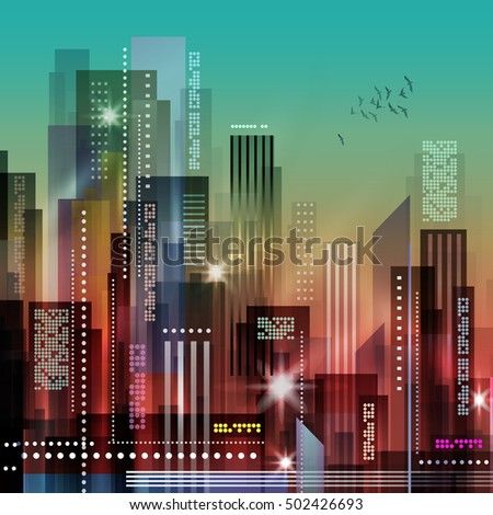 City at night. illustration of apartment blocks in a city at night.