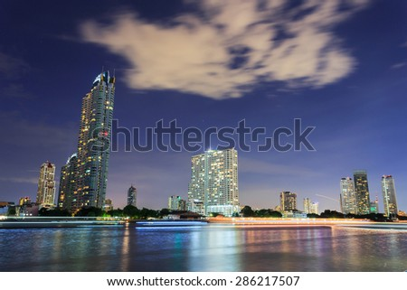 City at night in Thailand