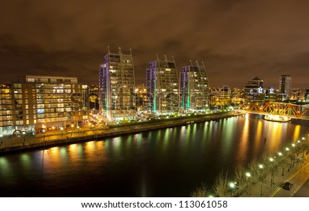 city at night, Salford quays in Manchester, England - stock photo