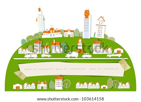 City background and paper stickers for text