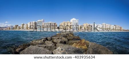 city beach in Almeria, Spain - stock photo