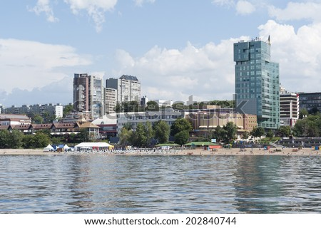 City beach on the river coast - stock photo