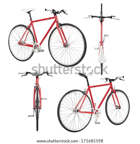 City bicycle fixed gear from four view isolated on white - stock photo