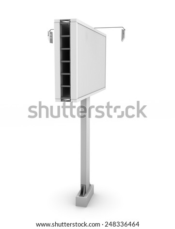 City billboard isolate on white background. Side view. - stock photo