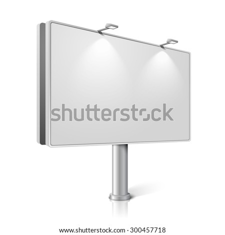 City billboard with lamps, isolated on white background with reflections. With place for your design and branding. - stock photo