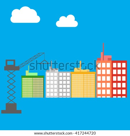 City, building icon. Skyscrapers. House icon. Illustration