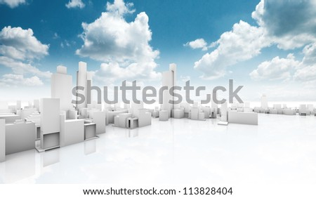 city building.Outdoor ecological construction - stock photo