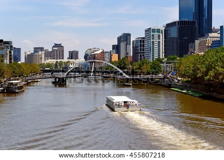 City buildings, alongside the Yarra River in Melbourne, Victoria, Australia.