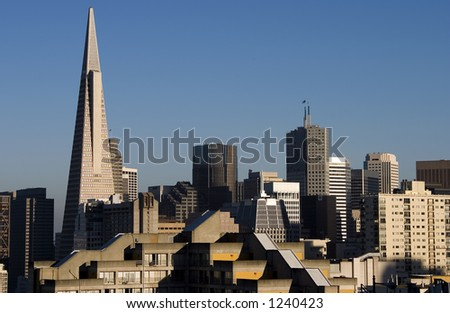 City buildings reflected in central San Francisco. - stock photo