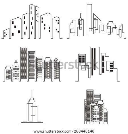 City buildings silhouette icons, real estate on white background. Raster version - stock photo