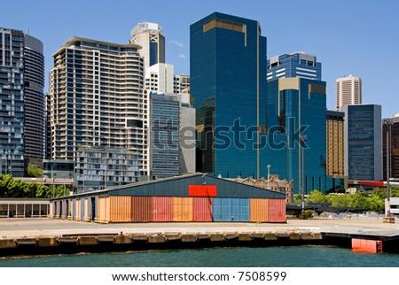 City Buildings & Wharf - stock photo