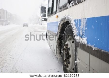 City Bus in a Blizzard - stock photo