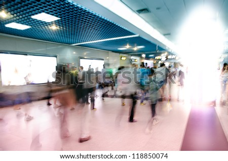 city business people abstract blur motion,  passenger walk at subway station