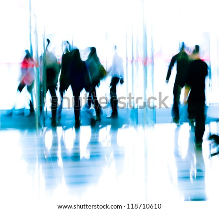 city business people moves in the office lobby, abstract blurred motion - stock photo