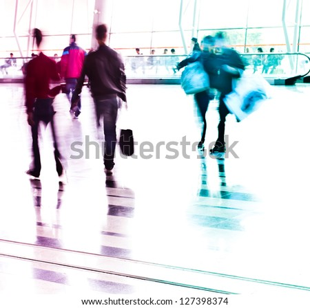 city business people rushing in the lobby,abstract blurred motion background - stock photo