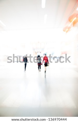 city business people urban scene abstract background, blur motion and zoom. - stock photo