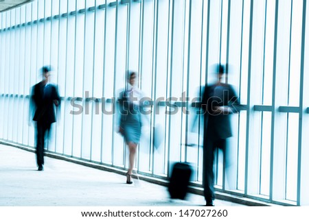 City businesspeople in the down town in rush - stock photo