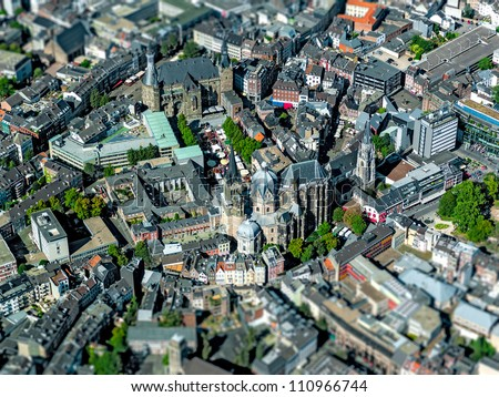 City called Aachen in Germany - Aerial shot with Tilt Lens - stock photo