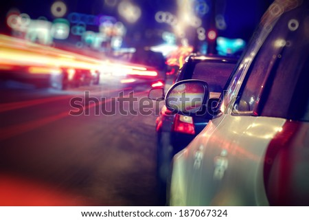 city car traffic jams night lights - stock photo