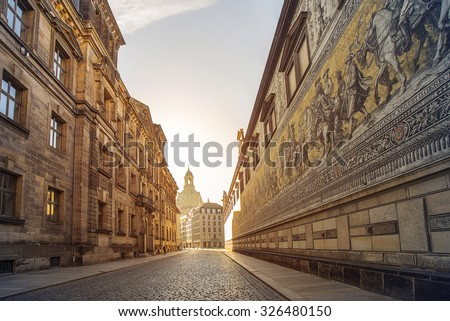 city center of Dresden, Germany, with historic buildings and the Fuerstenzug (Procession of Princes), a giant mural - stock photo