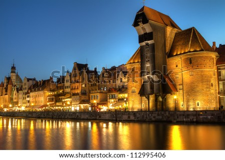 City center of Gdansk at night, Poland