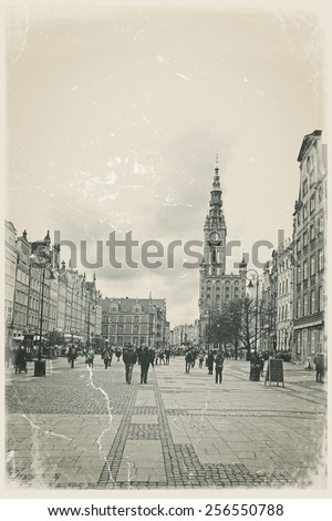 City center of Gdansk, Poland. Old  style postcard - stock photo