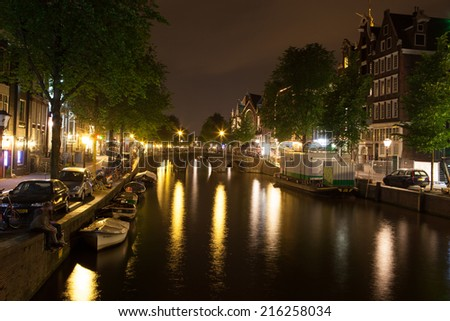 City centre of Amsterdam, North Holland, the Netherlands - stock photo