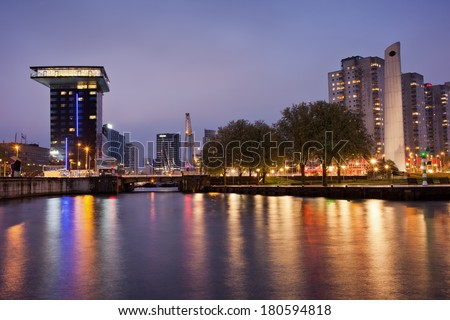 City centre of Rotterdam at night in South Holland, the Netherlands. - stock photo