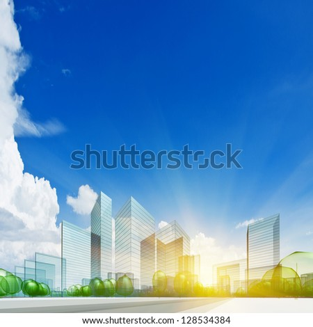City concept. Abstract 3d collage - stock photo