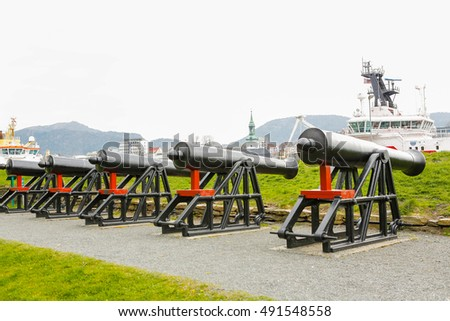 City defense canons. Bergen, Norway.