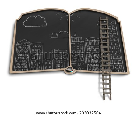 City doodles on book shape balckboard with ladder - stock photo