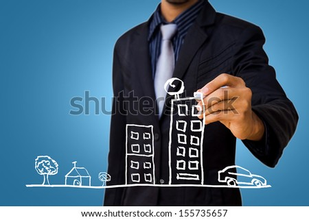City drawing by businessman