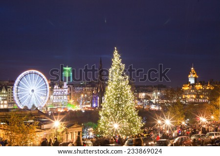 City during Christmas. Christmas market, boxing day. Edinburgh prepared for Christmas time.  - stock photo