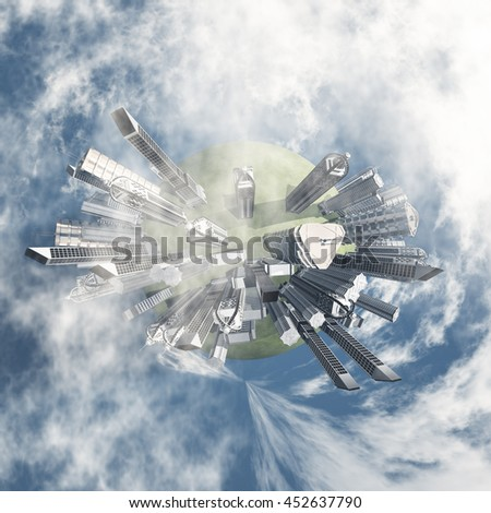City Earth with Clouds 3D Render - stock photo