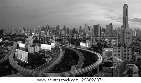 City elevated highway in thailand black abd white tone. - stock photo