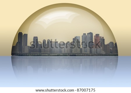 City Enclosed in glass sphere - stock photo