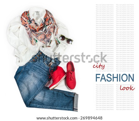 City fashion look background with denim and white blouse - stock photo