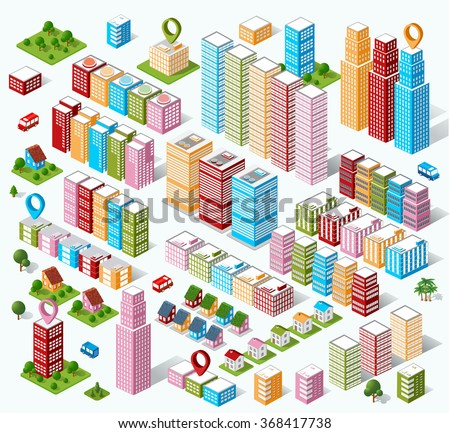 City flat 3d isometric city. Isometric perspective of architectural details. Skyscrapers and buildings in an isometric view. Isometric architecture. Flat Isometric city. Set of design elements. - stock photo